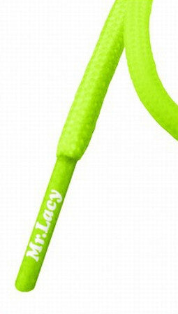 Mr Lacy Roundies - Round Neon Green Shoelaces