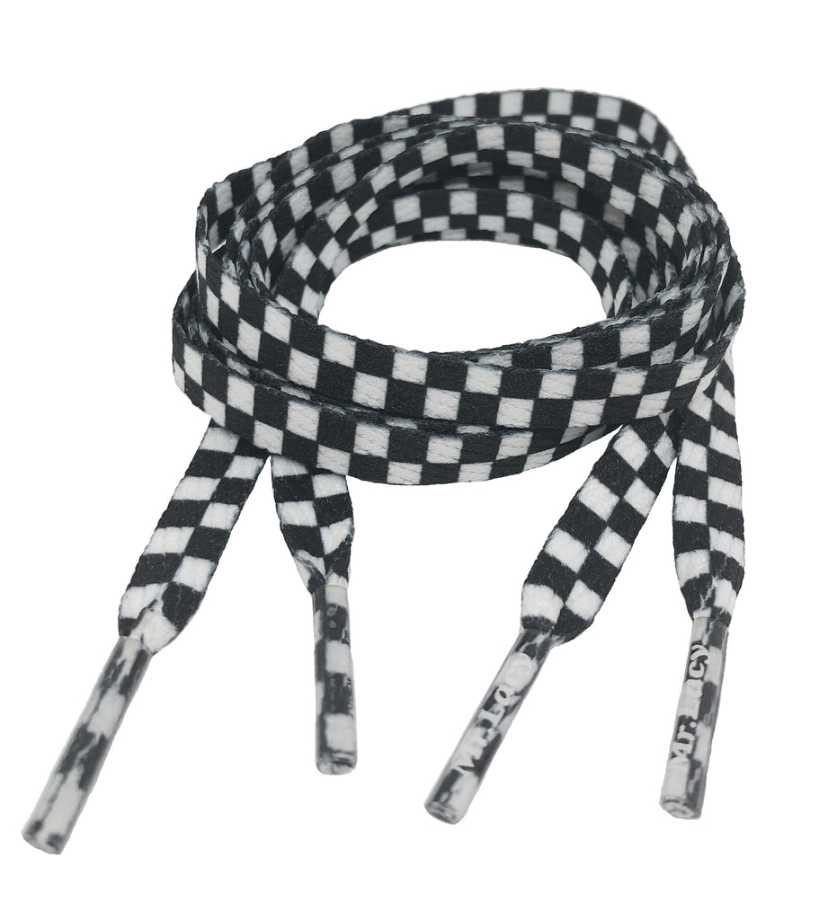 Mr Lacy Printies - Flat Check Black and White Shoelaces - 10mm wide