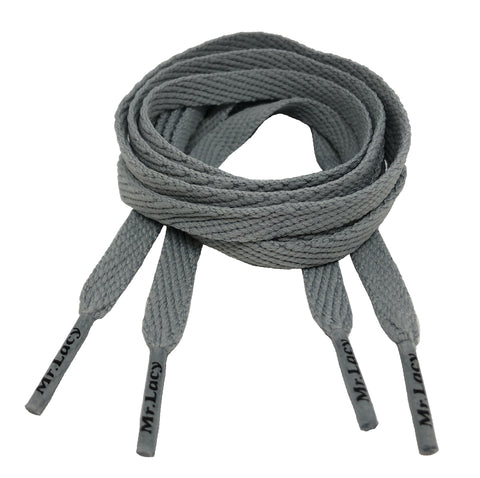 Mr Lacy Flatties Smallies Flat Grey Shoelaces