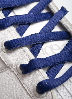 French Navy Blue Oval Shoelaces