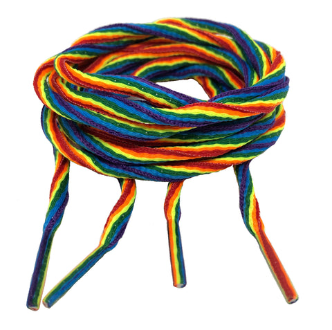 Oval Rainbow Pride Shoelaces - 6mm wide