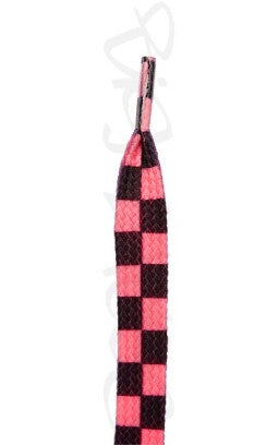 Flat Hot Pink Chess Pattern Shoelaces