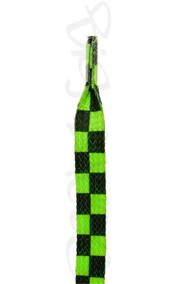 Flat Neon Green Chess Pattern Shoelaces