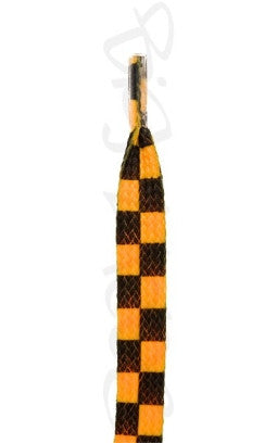 Flat Bright Orange Chess Pattern Shoelaces