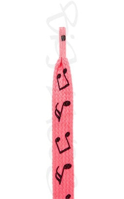 Flat Hot Pink Notes Pattern Shoelaces