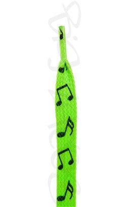 Flat Neon Green Notes Pattern Shoelaces