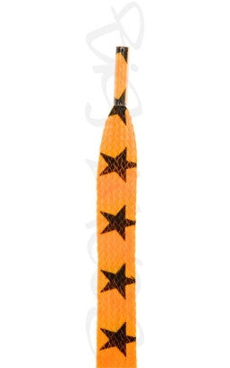 Flat Bright Orange Stars Pattern Shoelaces