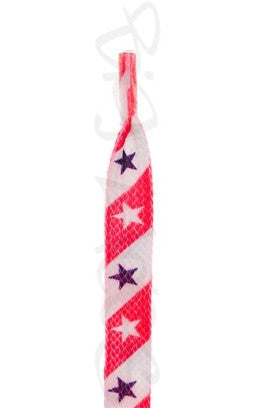 Flat Stripes and Stars Pattern Shoelaces