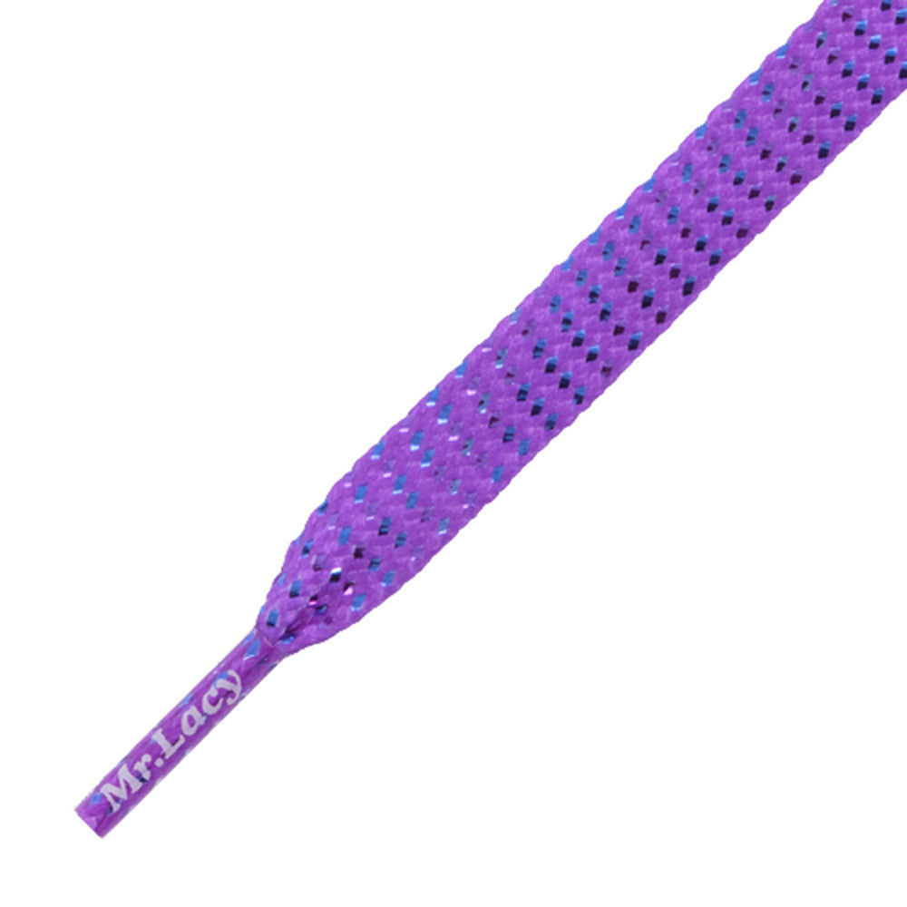 Mr Lacy Flatties - Flat Purple Chrome Pattern Shoelaces