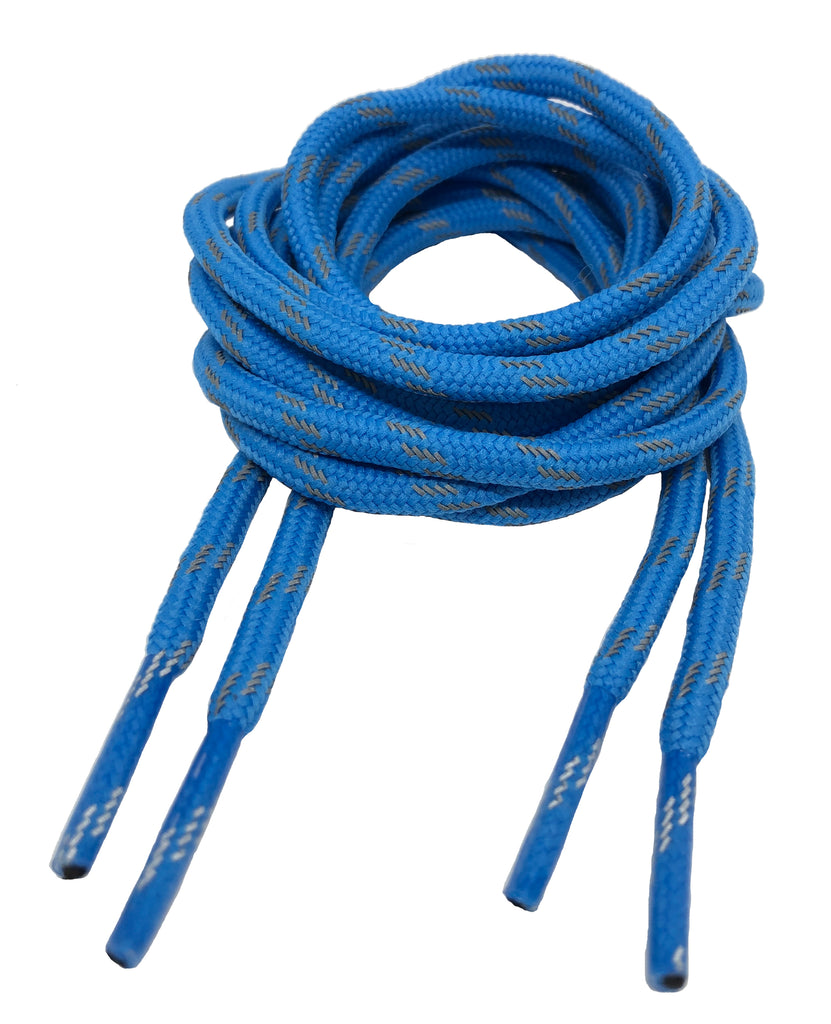 Round Blue Reflective Bootlaces