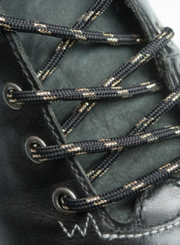 Round Black and Gold Bootlaces