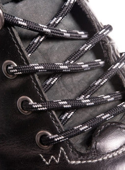 Round Black and Grey Bootlaces