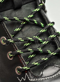 Round Black and Neon Green Bootlaces