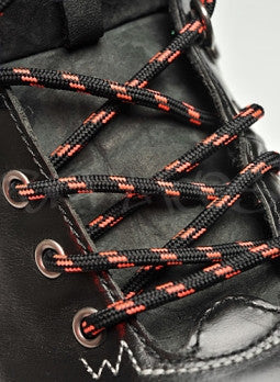 Round Black and Neon Pink Bootlaces