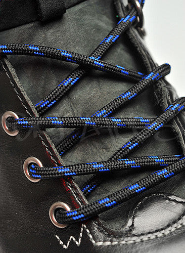 Round Black and Royal Blue Bootlaces