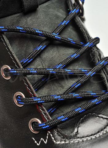Round Black and Royal Blue Bootlaces - 4mm wide