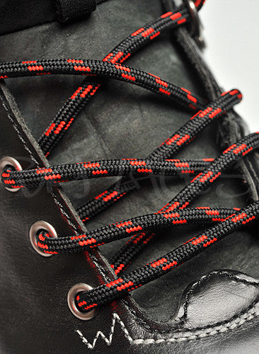 Round Black and Red Bootlaces - 4mm wide
