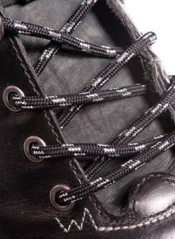 Round Black and Silver Bootlaces