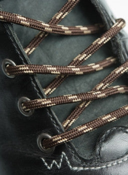 Round Brown and Cream Fleck Bootlaces