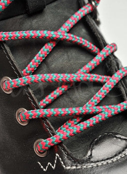 Round Cerise Pink and Jade Green Bootlaces