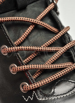 Round Coffee Brown and Black Bootlaces