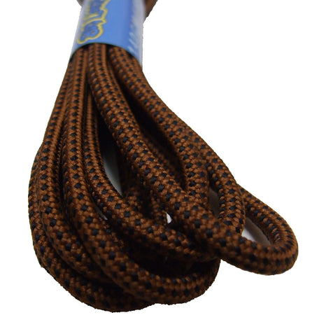 Round Dark Brown and Black Pinpoint Bootlaces - 4mm wide