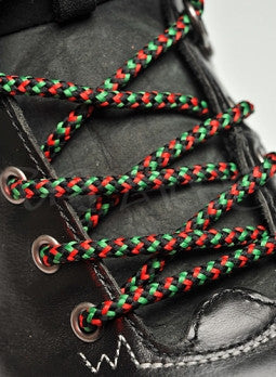 Round Green Black and Red Bootlaces