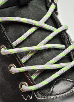 Round Grey and Neon Green Bootlaces