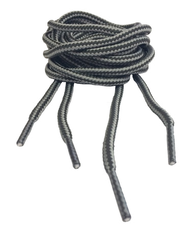 Round Grey Stripe Bootlaces - 4mm wide