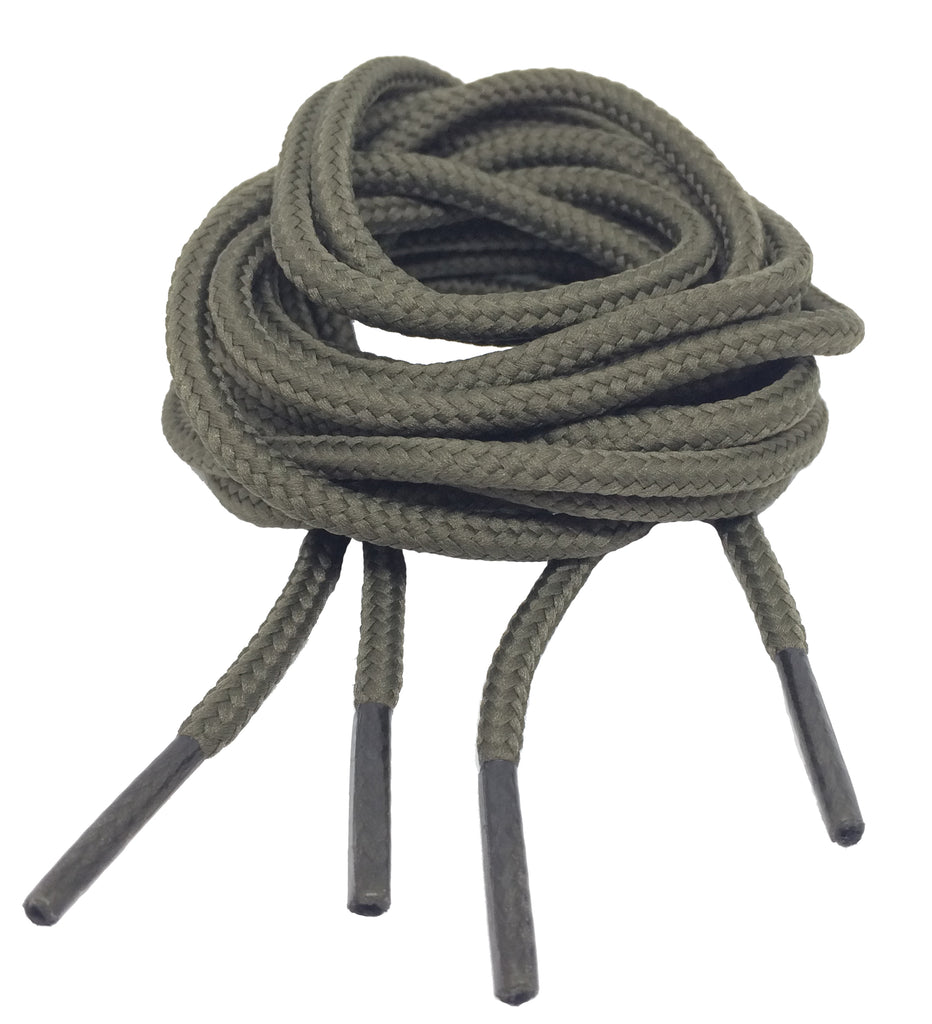 Round Khaki Bootlaces - 4mm wide