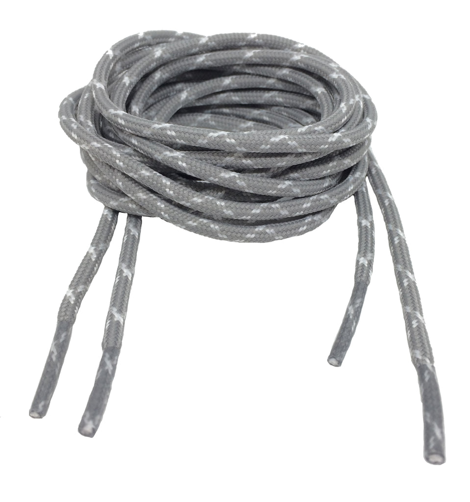 Round Grey and White Bootlaces