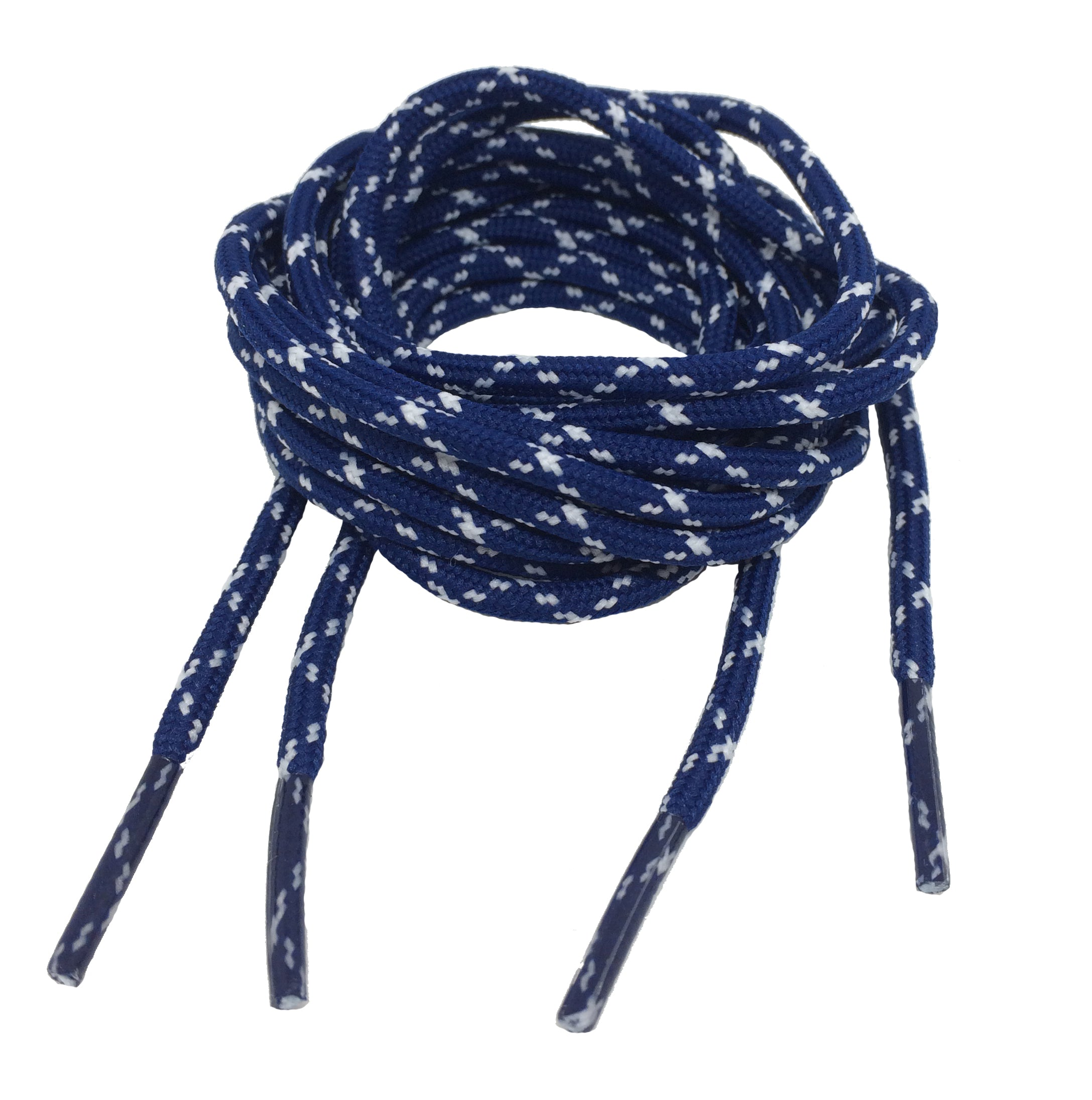 Round Navy Blue and White Bootlaces