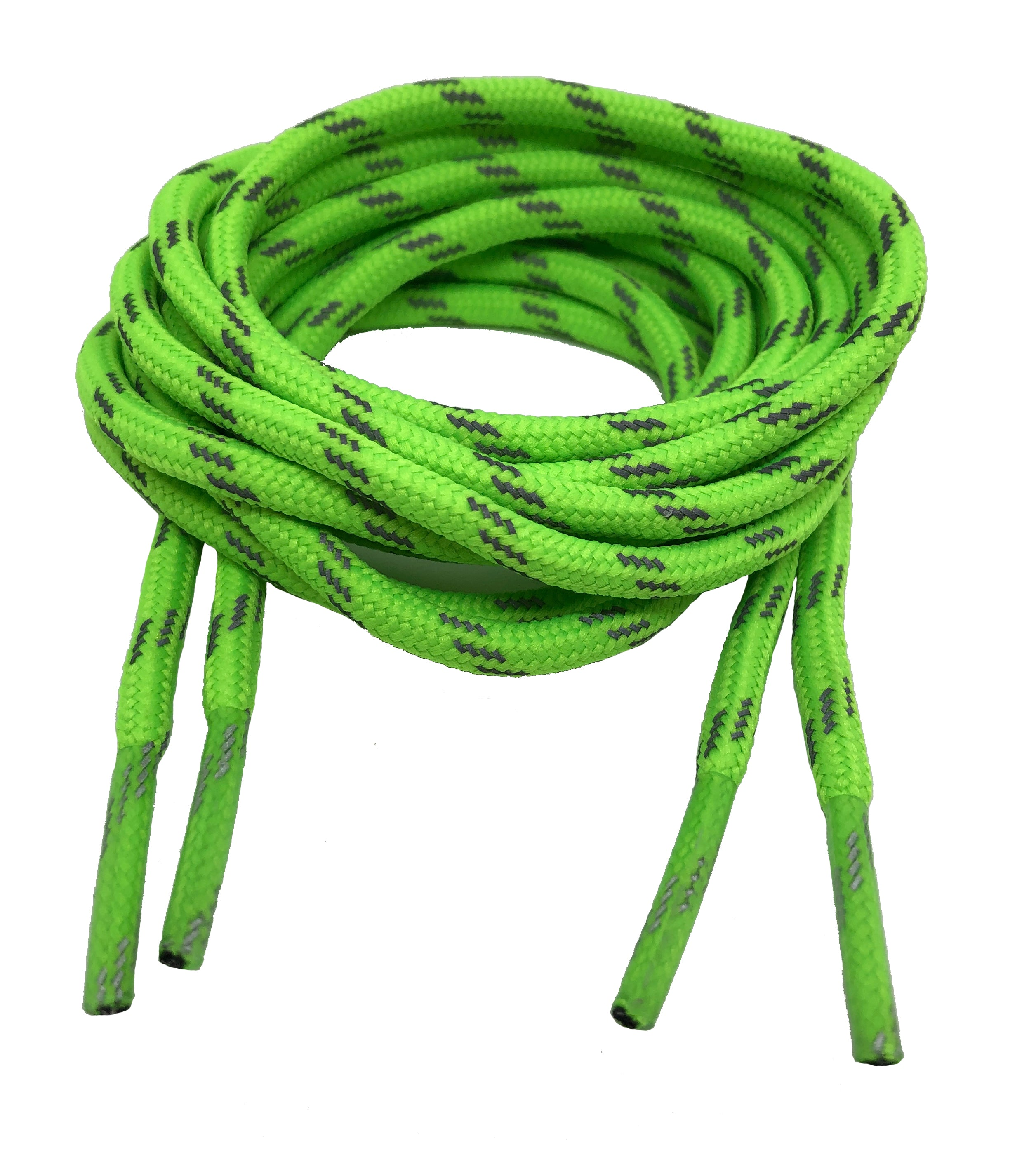 Round Neon Green Reflective Bootlaces