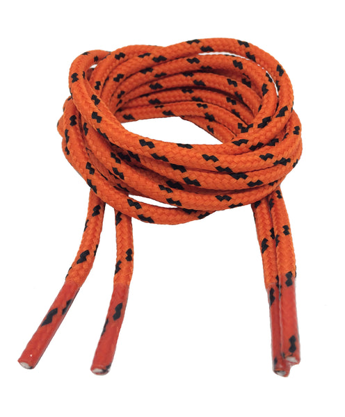 Round Orange and Black Bootlaces - 4mm wide