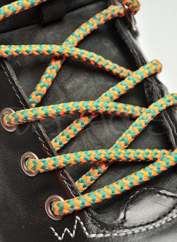 Round Orange and Jade Green Bootlaces