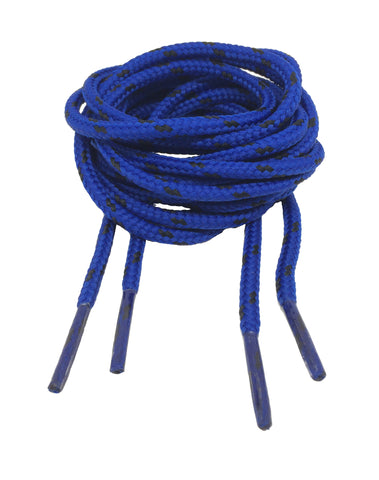 Round Royal Blue and Black Fleck Bootlaces