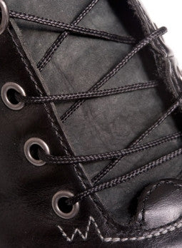 Round Heavily Waxed Black Cotton Shoe Boot Laces