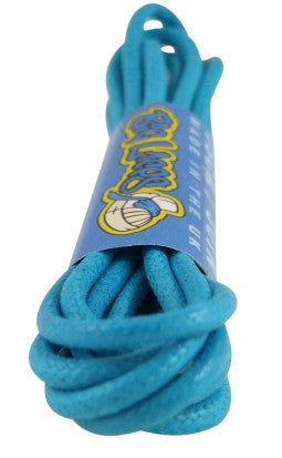 Round Waxed Bright Blue Cotton Shoe Boot Laces