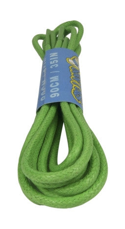 Round Waxed Bright Green Cotton Shoe Boot Laces