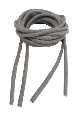 Round Waxed Light Grey Shoelaces