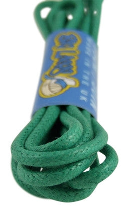 Round Waxed Light Green Cotton Shoe Boot Laces