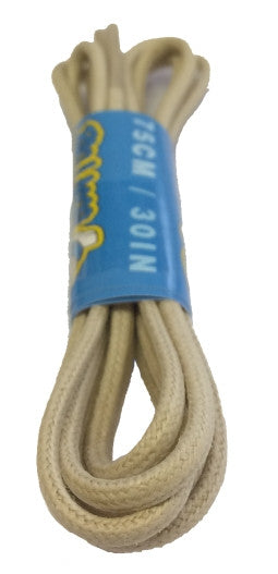 Round Waxed Oatmeal Cotton Shoe Boot Laces