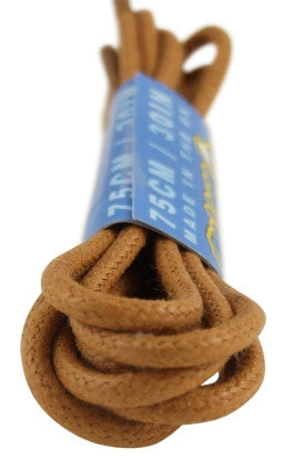 Round Waxed Tan Cotton Shoe Boot Laces