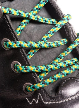 Round Yellow Jade and Black Bootlaces