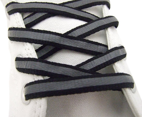 Reflective Flat Black Laces