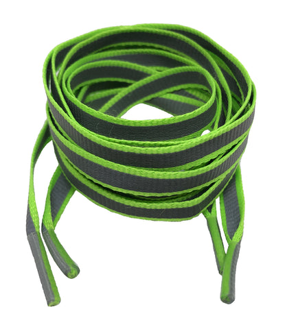 Flat Reflective Neon Green Shoelaces - 10mm wide