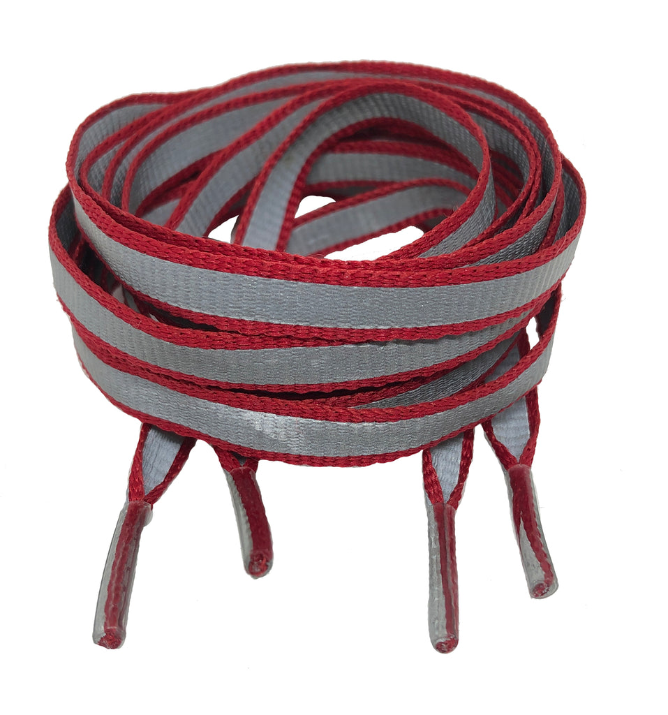 Flat Reflective Red Shoelaces