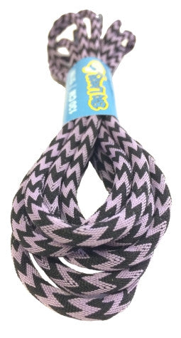 Round Zagged Lilac Black Shoelaces
