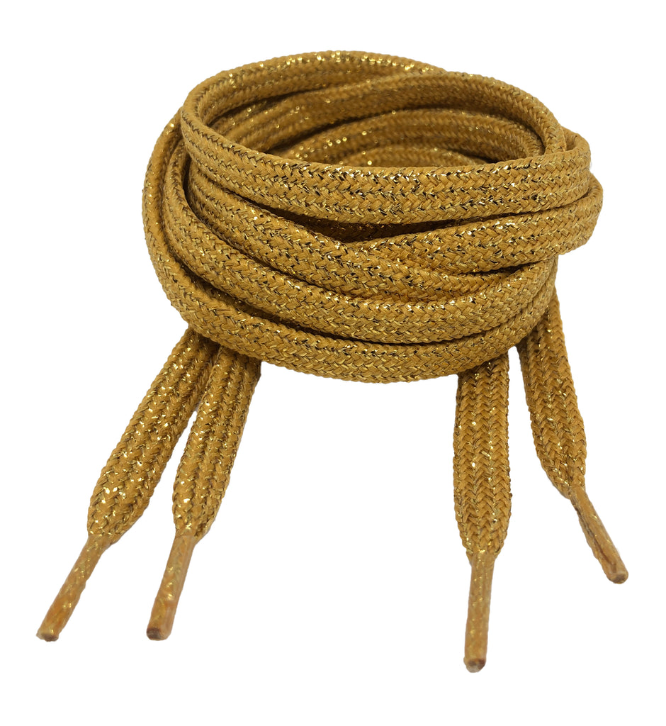 Flat Patterned Shiny Lurex Shoelaces Gold - 8mm wide