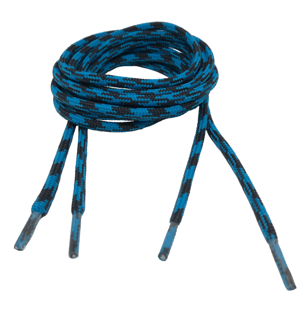 Round Strong Shoelaces/Bootlaces Turquoise Charcoal - 4mm wide